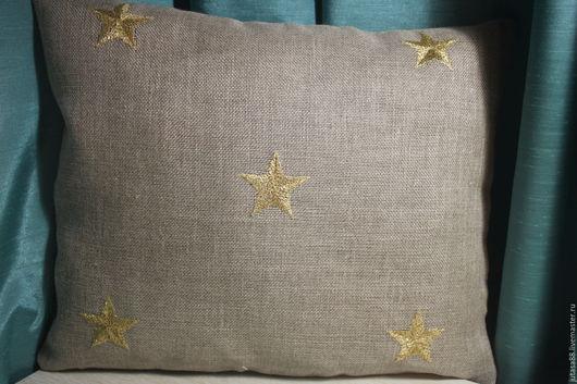 Текстиль, ковры ручной работы. Ярмарка Мастеров - ручная работа. Купить Льняная наволочка с вышитыми звездами. Handmade. Серый