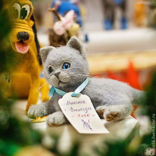 Игрушки животные, ручной работы. Ярмарка Мастеров - ручная работа. Купить котенок из шерсти  британец. Handmade. Серый, войлок, Кошки