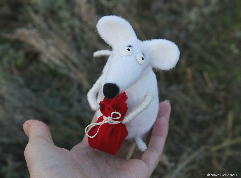 Мышь белая Символ 2020 года Новогодний подарок Валяная игрушка, Войлочная игрушка, Болгар,  Фото №1