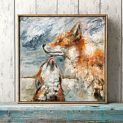 Картины и панно handmade. Livemaster - original item Fox mom and baby, picture in the nursery.. Handmade.