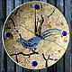 Часы для дома ручной работы. Ярмарка Мастеров - ручная работа. Купить Часы настенные Синяя птица - мозаика цветное стекло. Handmade.