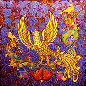 """Картины и панно ручной работы. Ярмарка Мастеров - ручная работа Батик панно """"Райская птица Сирин"""". Handmade."""