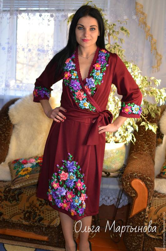 Платья ручной работы. Ярмарка Мастеров - ручная работа. Купить вышивка лентами. Handmade. Бордовый, вышитое платье, вышивка на одежде