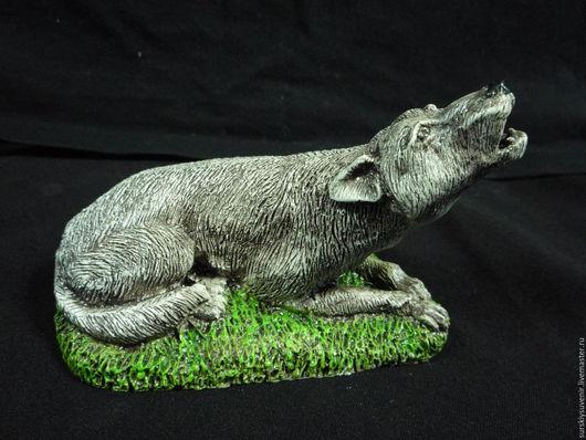Миниатюрные модели ручной работы. Ярмарка Мастеров - ручная работа. Купить Волк воющий. Handmade. Серый, эко керамика