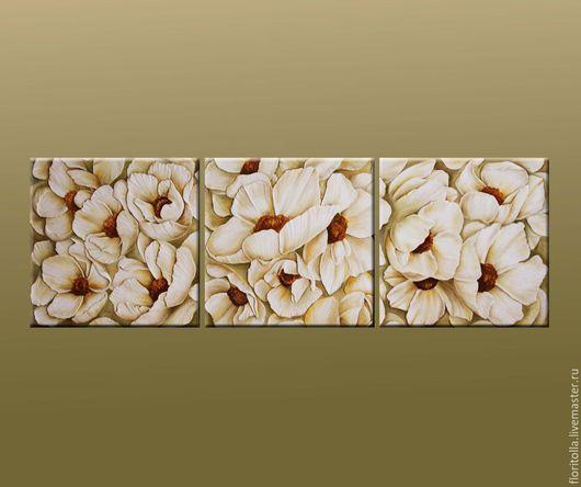 """Картины цветов ручной работы. Ярмарка Мастеров - ручная работа. Купить Объемная фреска """"Сад белых анемонов"""". Handmade. Белый"""
