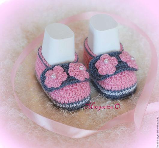 Для новорожденных, ручной работы. Ярмарка Мастеров - ручная работа. Купить Пинетки - туфельки, пинетки для новорожденных, пинетки вязаные. Handmade.