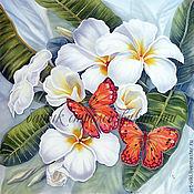 """Картины и панно ручной работы. Ярмарка Мастеров - ручная работа Панно """"Плюмерия, бабочки"""" батик. Handmade."""