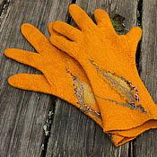 Аксессуары handmade. Livemaster - original item Gloves felted autumn Gold. Handmade.