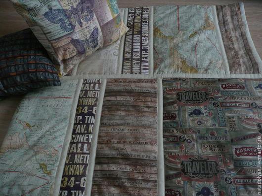 """Текстиль, ковры ручной работы. Ярмарка Мастеров - ручная работа. Купить Покрывало хлопковое """"Эклектичные элементы"""" евро размер. Handmade."""
