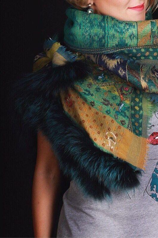 """Шали, палантины ручной работы. Ярмарка Мастеров - ручная работа. Купить Палантин шерстяной с мехом - """"Волшебный лес"""". Handmade."""