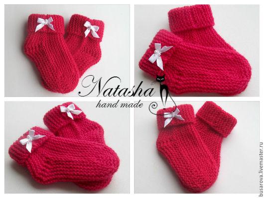 Для новорожденных, ручной работы. Ярмарка Мастеров - ручная работа. Купить Носочки для новорожденных. Handmade. Ярко-красный, носочки в подарок