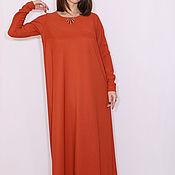 Одежда ручной работы. Ярмарка Мастеров - ручная работа Темно-оранжевое платье, длинное платье в пол с длинным рукавом. Handmade.