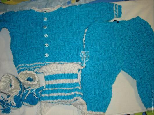 Комплекты аксессуаров ручной работы. Ярмарка Мастеров - ручная работа. Купить вязанный детский костюм из 4 предметов. Handmade.