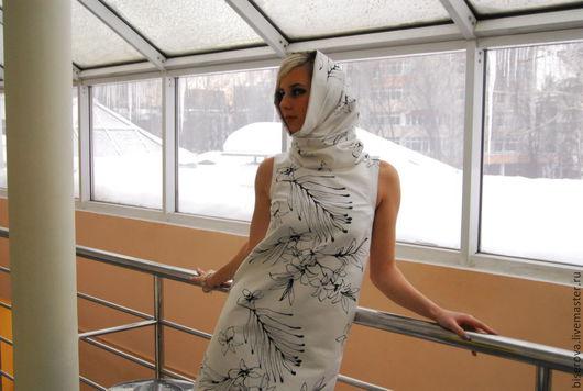 Платья ручной работы. Ярмарка Мастеров - ручная работа. Купить Мини платье трапеция. Handmade. Чёрно-белый, хлопок 100%