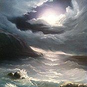 """Картины и панно ручной работы. Ярмарка Мастеров - ручная работа картина """"лунная ночь на море"""". Handmade."""