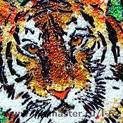 Картины и панно ручной работы. Ярмарка Мастеров - ручная работа панно из стекла, фьюзинг  Тигр. Handmade.