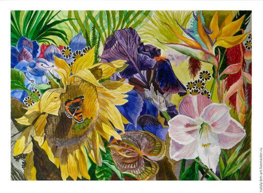 Картины цветов ручной работы. Ярмарка Мастеров - ручная работа. Купить Яркое лето. Handmade. Комбинированный, лето, цветущий сад