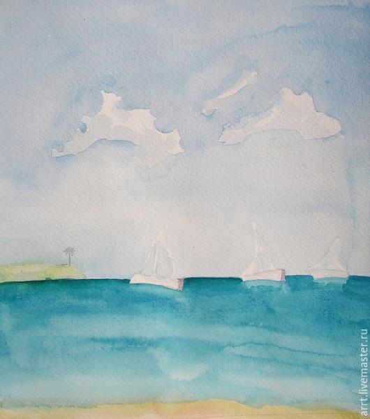 Пейзаж ручной работы. Ярмарка Мастеров - ручная работа. Купить Море и яхты Картина Акварель. Handmade. Бирюзовый, морской, пляж