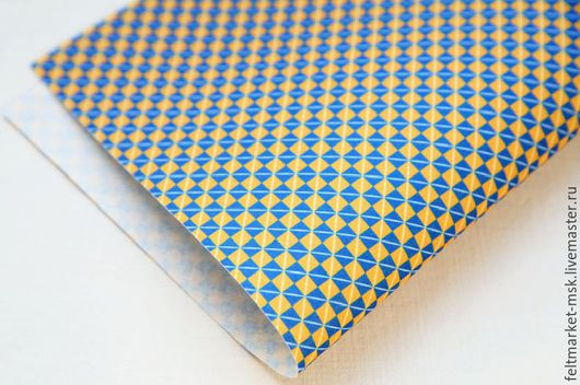 Фетр с рисунком `Квадратик` желто-синий Размер листа 20х30 см Толщина 1 мм Стоимость 250 руб.