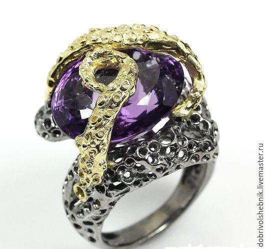 """Кольца ручной работы. Ярмарка Мастеров - ручная работа. Купить Кольцо с аметистом """"Пучина"""". Handmade. Тёмно-фиолетовый, кольцо с камнем"""