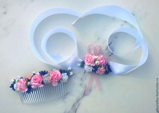 """Свадебные украшения ручной работы. Ярмарка Мастеров - ручная работа. Купить Комлект """"Ливадийская роза"""". Handmade. Розовый, гребень для прически"""