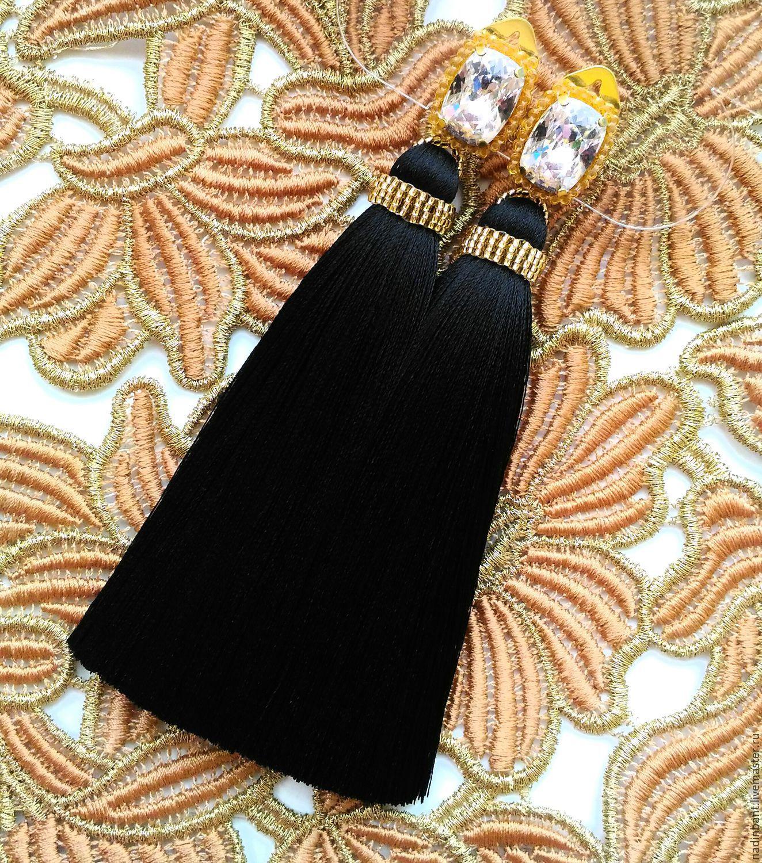 Clip brushes 'New' Swarovski, silk, Tassel earrings, St. Petersburg,  Фото №1