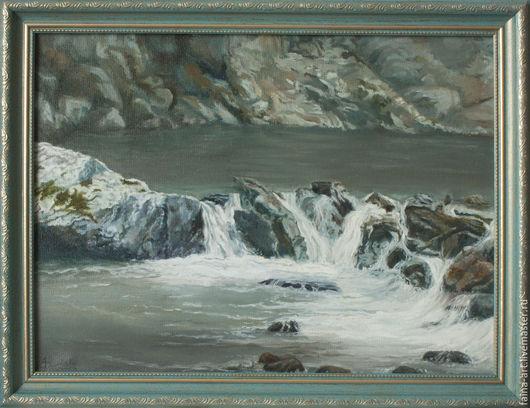 """Пейзаж ручной работы. Ярмарка Мастеров - ручная работа. Купить Пейзаж """"Алтай, река Каменушка"""", картина маслом. Handmade."""