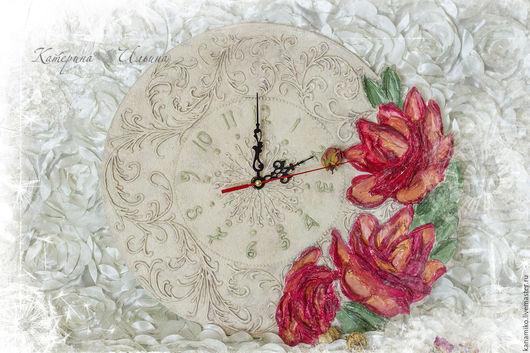 Часы для дома ручной работы. Ярмарка Мастеров - ручная работа. Купить Часы настенные Цветочный сад. Handmade. Бежевый