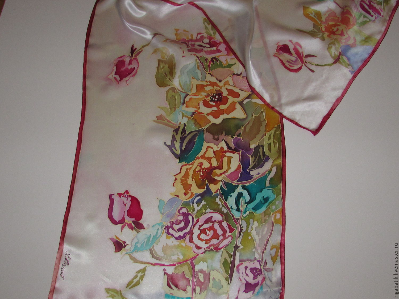 Scarf batik Bouquet. 100% natural silk satin, Scarves, Riga,  Фото №1