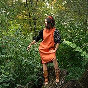 Одежда handmade. Livemaster - original item Ethnic Linen tunic Dress hand-made orange midi dress. Handmade.