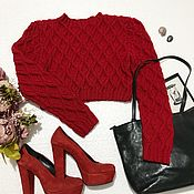 Одежда handmade. Livemaster - original item Knitted sweater for women red color short Filion. Handmade.