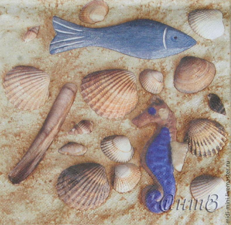 6pc napkins for decoupage seashells sea sand beach summer print, Napkins for decoupage, Moscow,  Фото №1