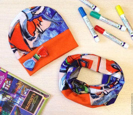 """Шапки и шарфы ручной работы. Ярмарка Мастеров - ручная работа. Купить Комплект """"Граффити"""". Handmade. Разноцветный, абстрактный, оранжевый цвет"""