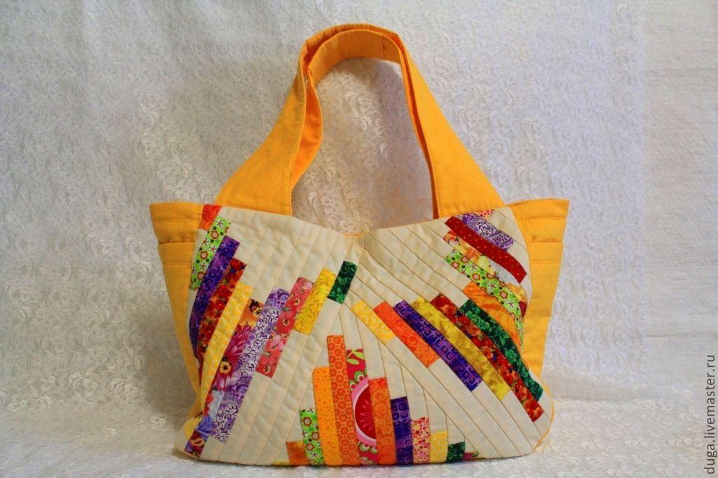 Сшить пляжную сумку в стиле пэчворк 91