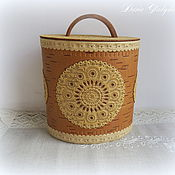 "Подарки к праздникам handmade. Livemaster - original item Birch bark basket (tues, tuesok) from Russia ""Birch bark pattern"". Handmade."