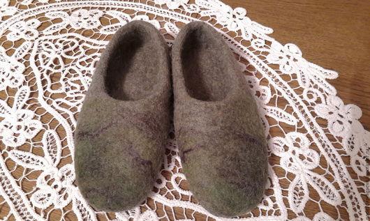 Обувь ручной работы. Ярмарка Мастеров - ручная работа. Купить эко тапки. Handmade. Оливковый, тапки женские, вощёная нить