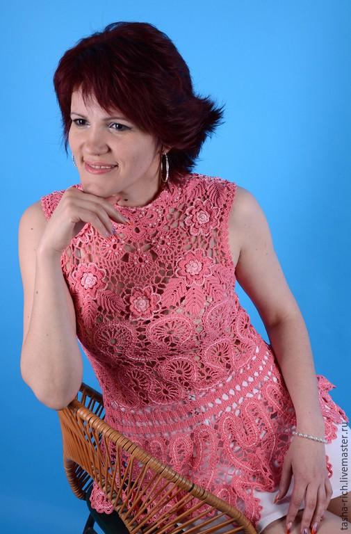 Блузки ручной работы. Ярмарка Мастеров - ручная работа. Купить Летняя блузка. Handmade. Коралловый, кофта вязаная, вискоза 100%