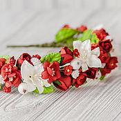 """Украшения ручной работы. Ярмарка Мастеров - ручная работа ободок """"Сладкие ягоды"""" красный цветочный венок. Handmade."""