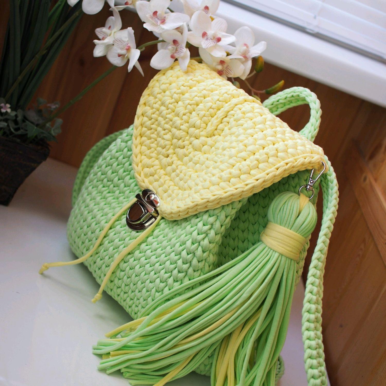 8005b020a74b Заказать Вязаный женский рюкзак мятный и светло-желтый. Марина Антипова. Рюкзаки  ручной работы. Ярмарка Мастеров - ручная работа. Купить ...