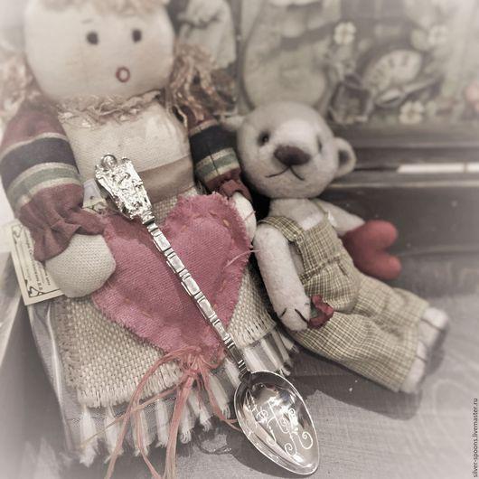 """Ложки ручной работы. Ярмарка Мастеров - ручная работа. Купить Серебряная чайная ложка """"Ангел-Хранитель"""" с гравировкой инициалов АНК. Handmade."""