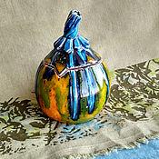 Сахарницы ручной работы. Ярмарка Мастеров - ручная работа Тыква керамическая, сахарница с крышкой, оранжево-голубая. Handmade.