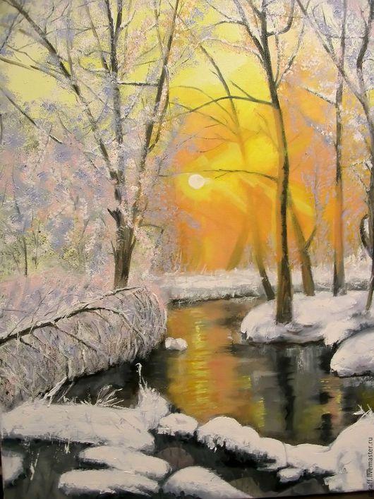 """Пейзаж ручной работы. Ярмарка Мастеров - ручная работа. Купить """"Зимнее таинство"""". Handmade. Зима, природа, рыжий, краски"""