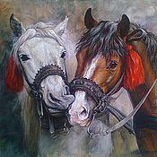 Картины и панно handmade. Livemaster - original item oil paiting A pair of horses (canvas). Handmade.