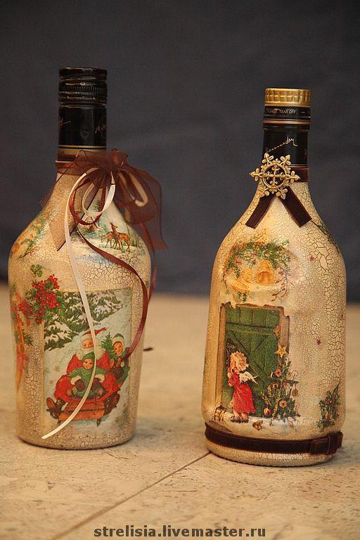 Подарочное оформление бутылок ручной работы. Ярмарка Мастеров - ручная работа. Купить Новогодний винтаж. Handmade. Декоративная бутылка