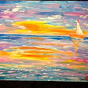 Картины и панно handmade. Livemaster - original item Orange sunset on the sea.. Handmade.