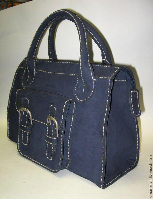 Женские сумки ручной работы. Ярмарка Мастеров - ручная работа. Купить саквояж малый синий. Handmade. Тёмно-синий, нубук