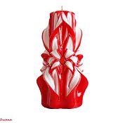 Свадебный салон ручной работы. Ярмарка Мастеров - ручная работа Резная свеча ручной работы для семейного очага на свадьбу Красный. Handmade.