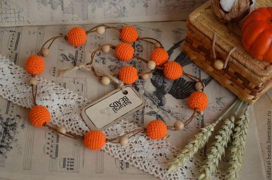"""Колье, бусы ручной работы. Ярмарка Мастеров - ручная работа. Купить Оранжевые бусы """"Яркая осень"""". Handmade. Оранжевые бусы"""
