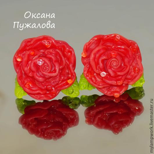 Серьги `Алые Розы`, серебро, английский замок, красные