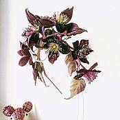 handmade. Livemaster - original item Hoops: Trendy Hoop with Burgundy clematis flowers. Handmade.